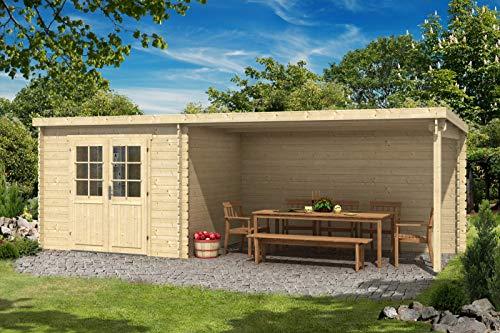 CARLSSON Alpholz Gartenhaus Brilon 28-A aus Massiv-Holz | Gerätehaus mit 28 mm Wandstärke | Garten Holzhaus inklusive Montagematerial | Geräteschuppen Größe: 693 x 250 cm | Pultdach