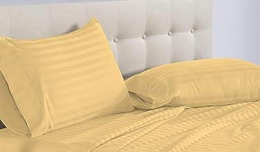 أغطية سرير سرير من Sunrizer مقاس King قابلة للتعديل 5 قطع باللون الذهبي 100% من القطن المصري بعدد خيوط 800، جيب عميق 45.72 سم