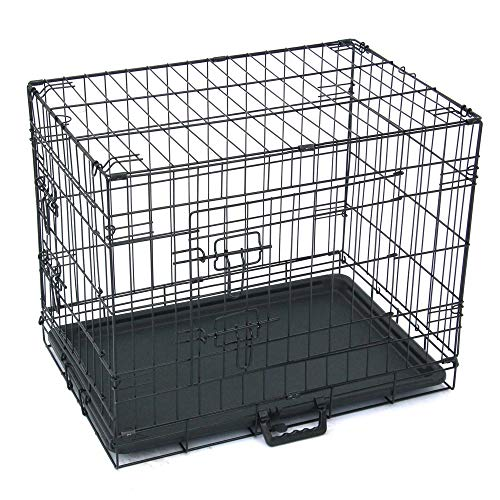 Dog Crate Puppy Box 24' Pet Kennell Cat Rabbit Folding Steel Box Animal Play Pen Wire Metal Cage Black Double Open Cage With Plastic Tray (Arrival in 2-5 days)