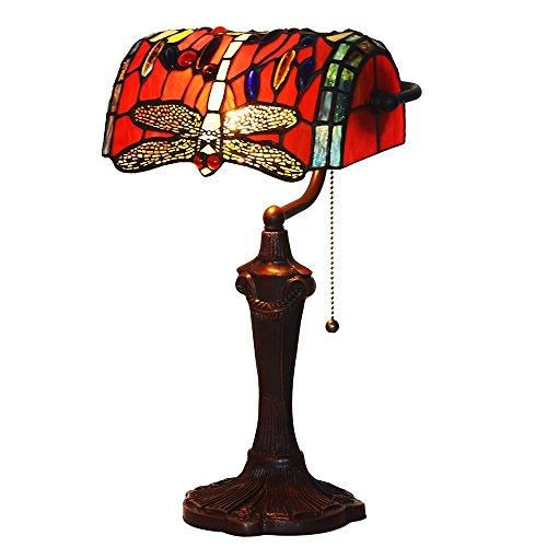 Bieye L30057 16 Zoll Libelle Tiffany Style Glasmalerei Banker Tischlampe