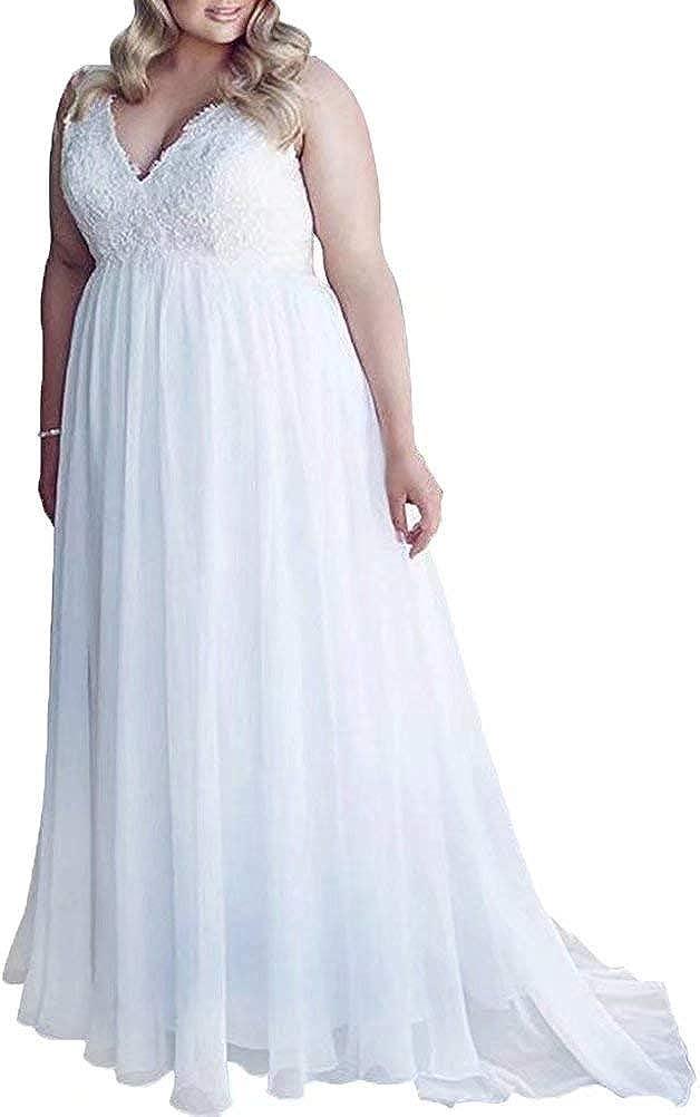 Wedding Dress Plus Size Bridal Gown Lace Beach Wedding Gowns V Neck