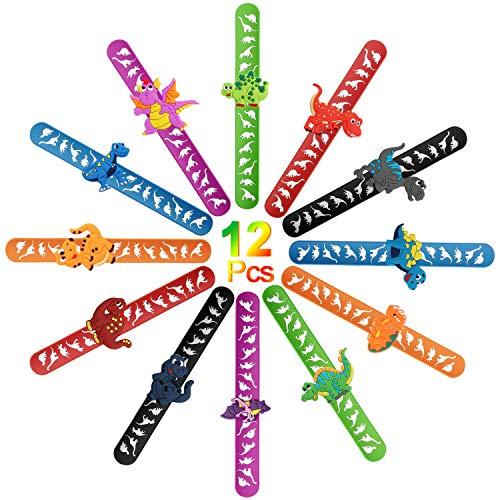 AYPOW 12 PCS Snap Bracelets Slap Armbänder mit Dinosaurier-Mustern Goodies Bag Spielzeug für Spaß Kinder Geburtstagsfeier Tasche Füllstoffe