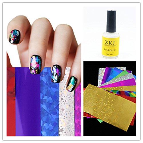 Cálido niña Kit de uñas arte transferencia Foil 1pieza Star pegamento adhesivo decorativo para uñas DIY decoración de uñas Set