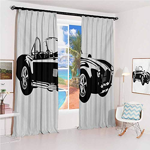 Cars Studio partition Living Room Curtain Silhouette Classic Sport Car Ac Cobra Roadster American Antique Engine Autosport for Living Room or Bedroom W72 x L108 Inch Black White