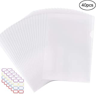 EOOUT 40pcs Plastic Clear Document Folder, Project Pockets Folders with Pockets, for US Letter, A4 Size, Transparent Color, with 48 Stickers