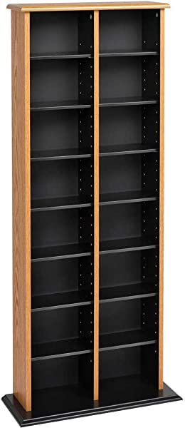 SKB Family Double Multimedia Storage Tower 22 X 51 X 8 75 X 33 Lbs Oak And Black