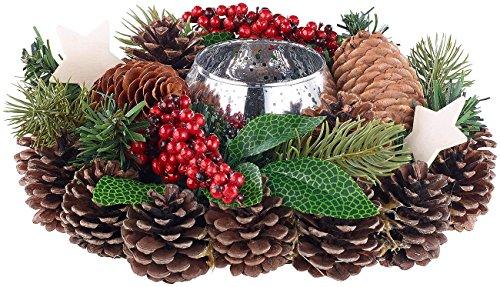 Britesta Deko: Handgefertigtes Weihnachts- & Adventsgesteck mit Teelicht-Halter, 23cm (weihnachtdeko)