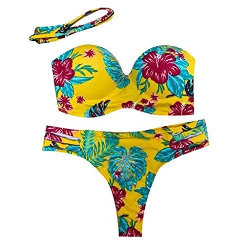 Bikini Mujer 2019, ZODOF Bikini brasileño Sexy Push up Bikini Tanga Mujer Playa Bikini Talle Alto Mujer Bikini Deportivo Trajes de baño Mujer una Pieza Trajes de baño Enteros Backless Swimwear