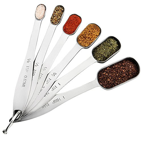 Measuring Spoon Set | IdealHouse All in One Set of 6 Piece Stainless Steel Metal Measure Spoons for Kitchen Baking Cooking - Accurate Engraved & Measuring Dry Liquid Jar Sugar Salt Spice Ingredients