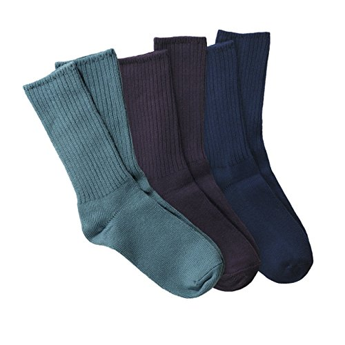 Maggie's Organic Cotton Crew Sock Tri-pack (9-11, Denim/Eggplant/Navy)