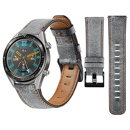 Koconh 20mm Leather Replacement Strap Band for Samsung Galaxy Watch 4 40mm / 44mm, Galaxy Watch 4 Classic 42mm / 46mm (Gray)