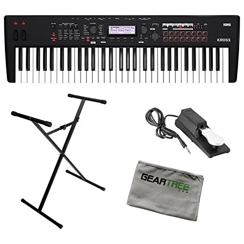 Korg KROSS261MB Synthesizer 61 Note Matte Black w/Stand, Sustain Pedal, and Gea