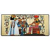 Alfombrilla de ratón para Juegos 800x400x3mm,Retro, diseño de papiro con Elementos de la Historia del Antiguo Egipto, Antigua ilustración artí Base de Goma Antideslizante, Adecuada para Jugadores