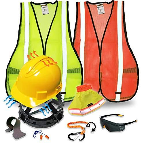 KwikSafety (Charlotte, NC) TURTLE SHELL VEST KIT (10 Vents) Standard Cap ANSI Hard Hat, Safety Glasses, Vests, Tool Lanyard, Sunshade, Sweatband, Earplugs Construction Gear, Type1, Class C, YELLOW