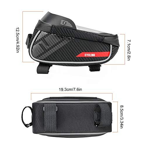 Jooheli Fahrrad Rahmentasche, Wasserdicht Rahmentasche Fahrrad Rahmentasche mit TPU-Touchscreen, wasserdicht handyhalterung für Smartphone unter 6 Zoll und Kopfhörerloch - 2