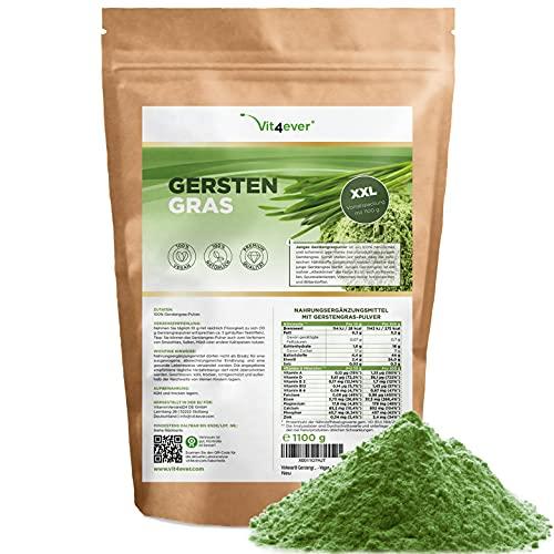 Barley Grass - 1100 g (1,1 kg) - Premium : jeune poudre d'herbe d'orge des Pays-Bas - riche en minéraux et vitamines - 100% herbe d'orge - Vegan - Superfood
