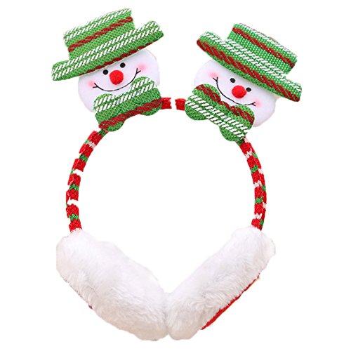 Demarkt Kerstmis oorbeschermers oorwarmer hoofdband haarband 23 * 14 cm beervorm 23 * 14cm Schneemannform