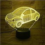 7 Colori illusione Scarabeo Lampada da auto vintage 3D Ricompensa fresca per bambini Batteria a batteria per scrivania Lampada da notte a led decorativa Lampada colorata