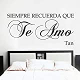 Wall Stickers for Living Room Spanish Vinyl Espanol - Siempre Recuerda Que Te Amo -Always Remember That I Love You-Love Quote Romantic Baby Nursery Decor Room Art (X-Large)
