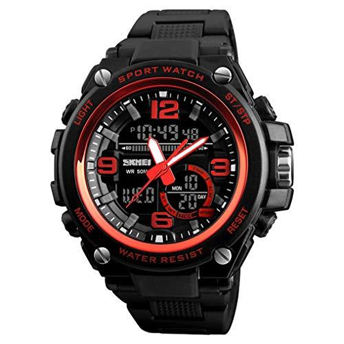 XJIANQI Mens Sport Digitale Horloge, 50m Waterdicht met 3 klok, 12/24 Uur Format, Week display, Alarm, Countdown, size, Rood