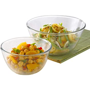 Borosil - IH22MB13022 Glass Mixing Bowl - Set of 2 (1.3L + 2.5L) Oven and Microwave Safe