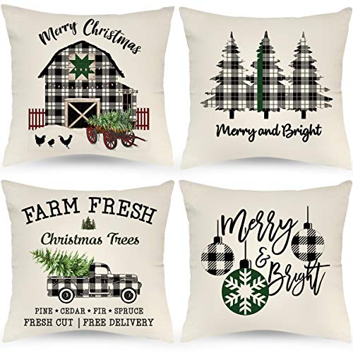 JAZIPO Farmhouse Christmas Pillow Covers 18x18 Inch Set of 4 Black and White Buffalo Plaid Pillow Covers Xmas Trees Holiday Rustic Linen Pillow Case for Sofa Couch Christmas Decor Throw Pillow Covers