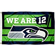 3x5 Feet in Size with two Metal Grommets for attaching to your Flagpole or Tailgate Pole Made of 100% Polyester with Quadruple Stitched Flyends for Durability, 150d Thickness, Imported The Seahawks team logos are viewable both sides (Opposite Side is...