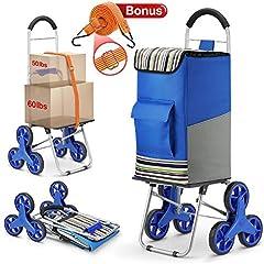 Winkeep Shoppingtrolley, 2 en 1 Bar Panier 75L Capacité & Sackkarre Super Chargement 50Kg - Économie de travail Monter les escaliers avec câbles de serrage réglables, 3 grandes roues sans bruit