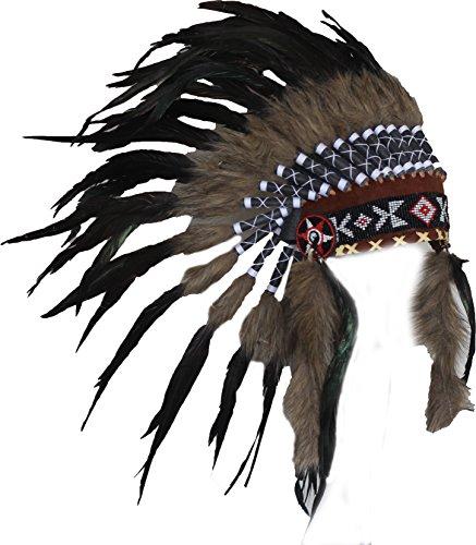 N63 - schwarz und natürlichen Farben kurz Indianer Kopfschmuck/Warbonnet. Native American Style.