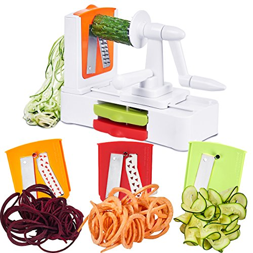 Spiralizer Vegetable Spiral Slicer 3 Stainless Steel Blades - Zucchini Noodle &Veggie Pasta & Spaghetti Maker,Veggie shredder and Cutter - Low Carb/Paleo/Gluten by Godmorn