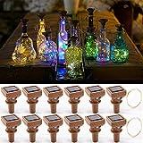 Upgraded 12 Pack Solar Wine Bottle Lights,20 LEDs Waterproof Copper Lights,Bottle Lights Fairy Cork String Lights for Christmas,Outdoor,Wedding Decor(Multi Color)