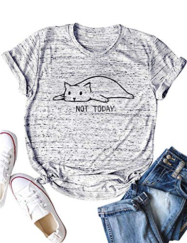 YUHX Not Today Camisetas Mujer Carta Gato gráfico Estampado de Manga Corta con Cuello Redondo Tops Animal Camisetas