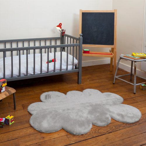 Tapis enfant pilepoil - Nuage gris clair 90 x 130 cm - fausse fourrure - Fabrication Française