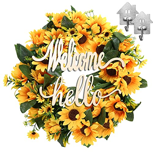 Sunflower Wreath with Welcome Hello Sign, with Hanger