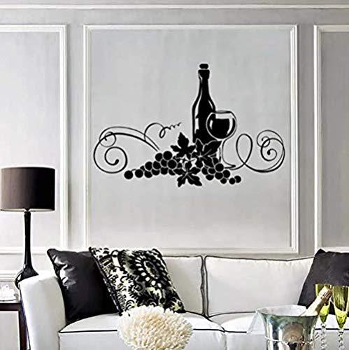 Grapevine pegatinas de pared restaurante cocina elegante decoración de interiores pegatinas de vinilo pegatinas de pared uva taza arte mural 64 * 42Cm