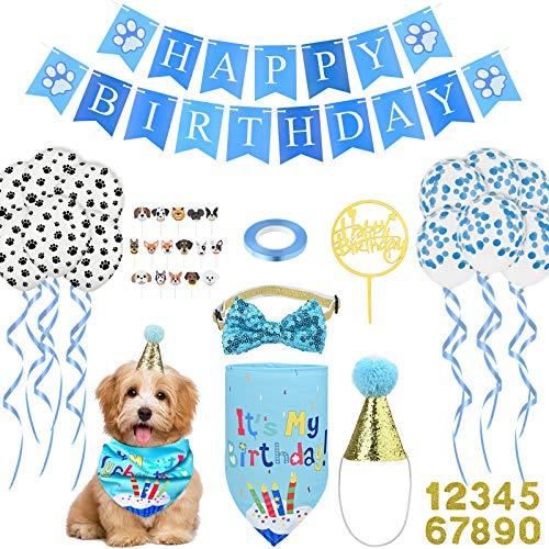 Hund erster Geburtstag Hut Bandana Set Alles Gute zum Geburtstag Banner Paw Print Luftballons Fliege Kragen Goldene Nummer Cake Topper für Haustier Welpe Katze Geburtstag Dekorationen