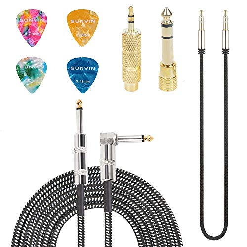SUNYIN Amp Cord for Electric Guitar,10-Feet Acoustic Guitar Cable,Straight to Right Angle Guitar Amp Cord with Gold Plated 3.5mm&6.5mm Stereo Adapter,Audio Cable,4 Picks