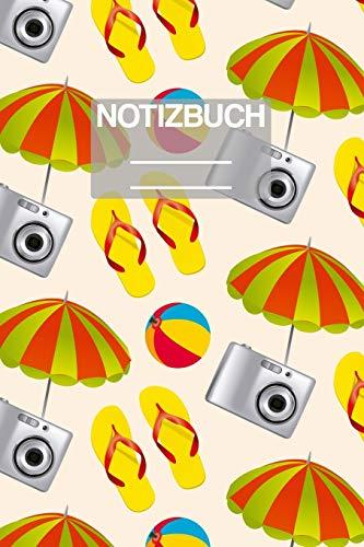 Notizbuch A5 Muster Sommer Strand Sonnenschirm Kamera Flip Flop: • 111 Seiten  • EXTRA Kalender 2020 •  Einzigartig •  Liniert •  Linie •  Linien  • Geschenk • Geschenkidee