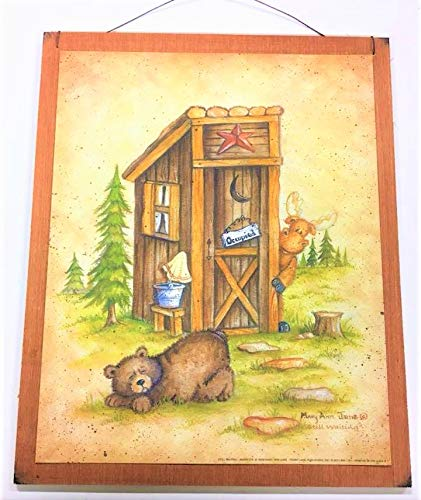 The Little Store Of Home Decor Still Waiting Bear Moose Country Bath Outhouse Lodge Cabin Sign Wooden Bathroom Wall Signs