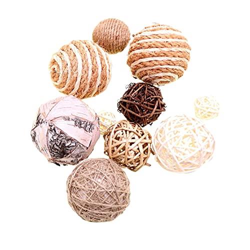 B Blesiya 10 Piezas de Bolas de Mimbre esféricas Surtidas de Bolas de ratán para decoración navideña, decoración de Mesa para el hogar, café