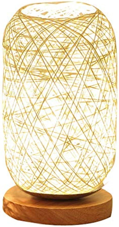 WPCBAA Hlzerne Rattan Hanfseil Lampe Tischlampe Raum Kunst Dekoration Schlafzimmer Nachttischlampe (Farbe   Beige)