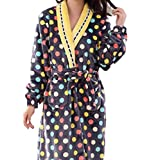 HX fashion Pigiama di Flanella da Donna A Maniche Lunghe Costumi da Bagno per Chic Gli Uomini di Riscaldamento Invernale Ragazza (Color : Nero, Size : XL)