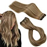 RUNATURE Human Hair Extensions Sew in 18 Inch Color 10P16 Golden Brown Mix Golden Blonde Remy Hair Extension Hair Weave 100g Brazilian Hair Bundles