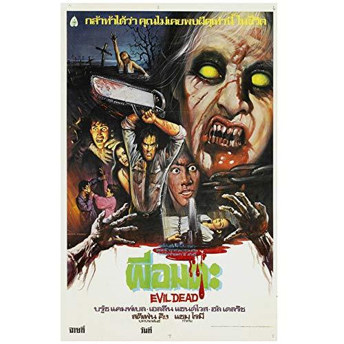 Sanwooden The Evil Dead Movie Poster Dekorative Malerei für Wohnzimmer Home Decor Geschenk Artwork Dekoration Druck auf Leinwand -50x75cm No Frame
