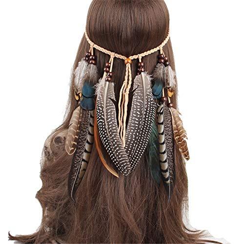Coiffe de plumes indien armure plumes coiffe de corde de cheveux