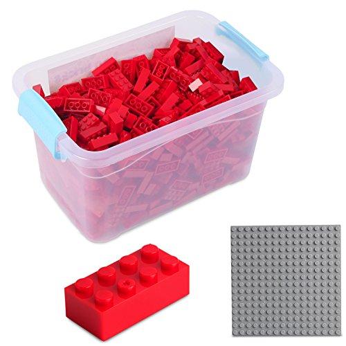 Katara Juego De 520 Ladrillos Creativos En Caja Con Placa De Construcción 100% Compatibles Con Lego Classic, Sluban, Papimax, Q-bricks, Color Rojo (1827) , color/modelo surtido