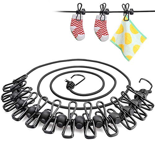 Dandel 洗濯物干しロープ 弾力洗濯ロープ 物干しロープ 携帯便利 12個クリップ付き 防風 調整バックル付き 下垂防止 弾力ゴム紐 旅行/キャンプ/裏庭/ベランダなどの室内と室外に最適 (ダークブルー)