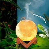 3D Moon Lamp Earth Lamp Jupiter Lamp Humidifier Creative Nightlight Planet Science Fiction Modeling Lamp Romantic Dream Girl Ins Bedside Table Lamp Gift Lamp (White, Lunar lamp)