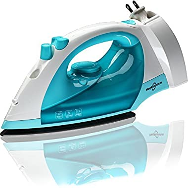 Hephaestus Steam Iron 1200 Watt Nonstick Teflon Soleplate Variable Steam Spray Anti-Drip Self-Cleaning System with 8 Feet Retractable Cord