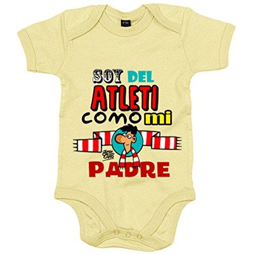 Body bebé Atlético de Madrid soy del Atleti como mi padre - Amarillo, 6-12 meses